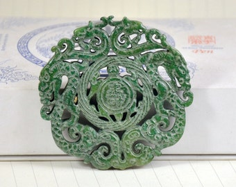 Green Jade Long Life Pendant Double Side Dragon Turtle Gemstone bead Amulet Talisman Carved Long Life Pendant  Fit  Make your jewelry