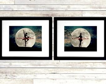 Set of 2 Art Prints Ballet Dance Ballerina Moon Teal Bedroom Matted Picture A227