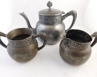 Royal Mfg. Co. Triple Silver Plate Plate Teapot, Creamer and Sugar Bowl, Antique. 3 Piece Tea Set