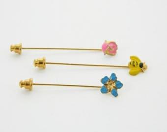 Bumblebee and Flowers Stickpin Set - Stickpins Trio - Set of 3 Fruit Stickpins