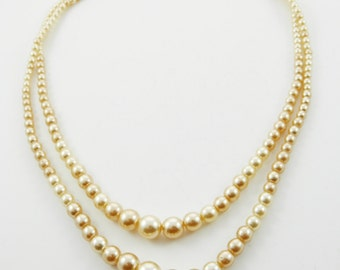 Double Strand Pearl Necklace - Pearl Choker