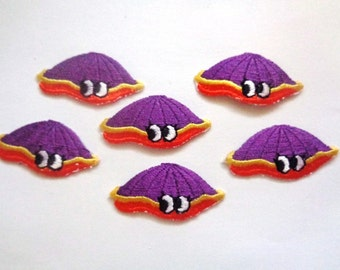 "Clam Iron-On Embroidered Appliques,1 1/2 x 3/4""  inch, Purple / Yellow / Orange, x 6, For Nursery, Scrapbook, Apparel, Decor, Accessories"