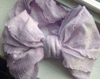 Ruffle bow in lilac sparkle Chiffon Rosette Headband, Newborn Headband, Baby Flower Headband, Baby Girl Flower Headband, Photography Prop