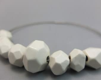 Ceramic jewelry, faceted porcelain beads, collection asteroids, geomentrical jewelry, porcelain jewelry, futuristic necklace