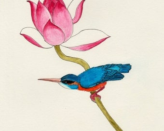 "Watercolor pencil drawing, ""Kingfisher and Lotus"", print, matted, backed, ready for framing"