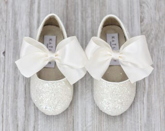 Infant girl shoes, Toddler girl shoes, Kids Girls Shoes - Off White IRIDESCENT rock glitter mary-jane with IVORY satin ribbon bow