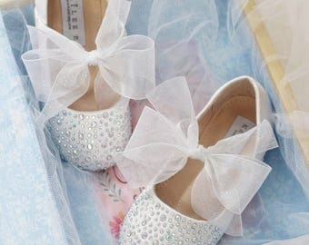 GIRLS SHOES- White Satin With Rhinestone ballet flats with white chiffon ankle strap.  For weddings, princess, fairy, flower girls, frozen,