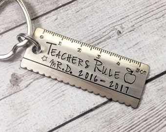 Teacher Gift Keychain - Teachers Rule Keychain - Teacher Keychain Personalized - Gift from Student - Gift for Teacher