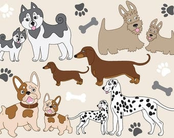 70% OFF SALE Vector Dogs Clipart - Husky Clipart, Dachshund Clipart, Scotch Terrier Clipart, Dalmatian Clipart, French Bulldog Clipart