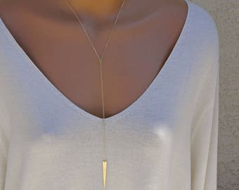 Long Gold Y Necklace / Long Gold Lariat Necklace, Spike Necklace, 14k Gold Fill, Sterling Silver, Rose Gold, Long Layering Necklace