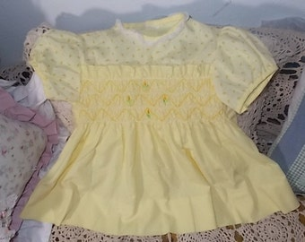 Baby Dress 6-8 Months smoked Front with flowers, Baby girl Dress, Baby Girl Clothing, Tulip Girl Dress, Easter Dress,