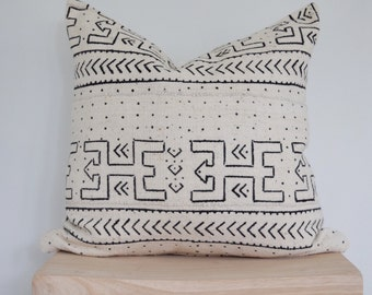 Black and white authentic mudcloth pillow cover