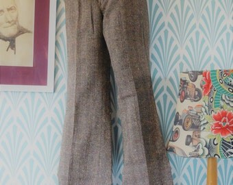 2pcs 70s flared herringbone pants - Teenager size EU152 / Women EU34-36