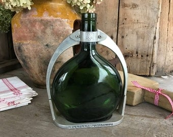 1940s French Glass Brandy Bottle, Armagnac Ducastaing, Stirrup Bottle Carrier