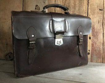 Brown Leather Briefcase Handcrafted in England, Attache, Portfolio