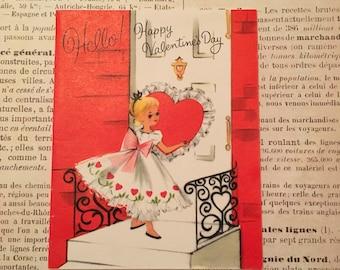 Valentine Card / Valentine sweet girl Valentine card 1962 signed