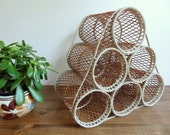 Vintage Woven Wicker Boho Tabletop Wine Rack