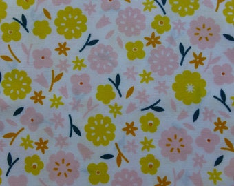 1/2 Yard Organic Cotton Fabric - Cloud 9 Fabrics, Stay Gold, Primrose Cotton