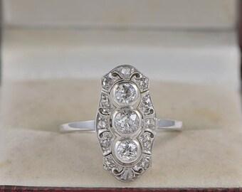 Authentic Edwardian 1.00 Ct diamond platinum panel ring
