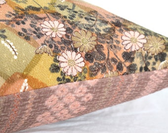 Decorative Pillow Cushion in a Country Floral and shirobi stripe design made from rare Japanese Kimono silks in sage, pink, grey & cream