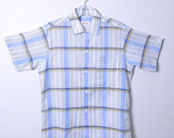 Vintage 1950s Men's Shirt 50s Cotton Plaid Short Sleeve