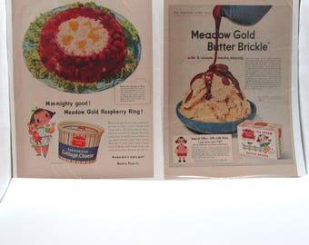 Original 1953 Mary Blair Meadow Gold Ads