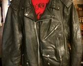 Vintage Black Leather Jacket Size XL