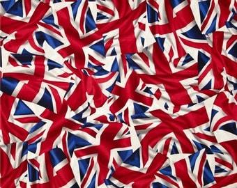 3/4 yard Kanvas by Benartex fabric Flying the UNION JACK FLAG