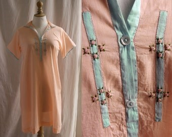 Vintage Lingerie, night dress with embroideries, peach color, 1920's lingerie