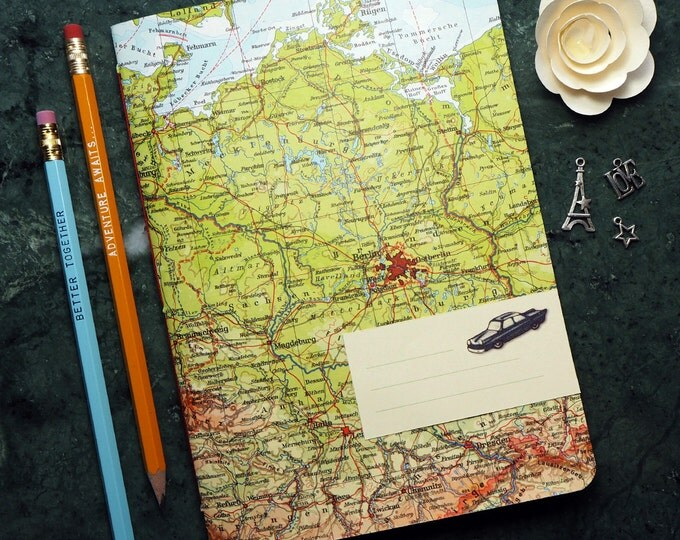 TRAVEL JOURNAL Germany, Berlin, Leipzig, Island of Ruegen, 5,7x8,2inch, 40p. RULED travel journal, diary, notebook, atlas, map, upcycling
