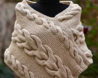 Knitted Poncho For Women. Beige Poncho. Wool Woman Poncho Bolero/ Cape. Lady Shoulder Warmer For Her Fashion Accessories