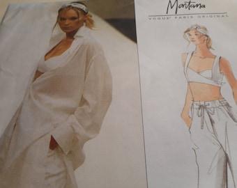 Vintage 1999 Vogue 2313 Paris Original Montana Shirt, Top, and Pants Sewing Pattern, Size 8-10-12, Bust 30 1/2, 31 1/2, 32 1/2