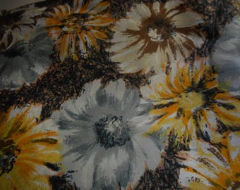 Vintage 1950's, 60's Yellow, Grey, Navy, Taupe Floral Synthetic Fabric, 4 yards plus