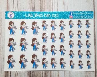 Lola loves her cat, handrawn stickers