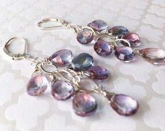 Sterling Silver Mystic Quartz Gemstone Cascade Earrings. Mystic Quartz Cluster, Dangle Earring ,Drop Earring,Artisan Jewelry.