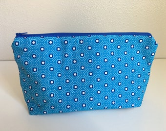 Makeup Bag, Blue Calico Flowers -- Zipper Cosmetic Bag
