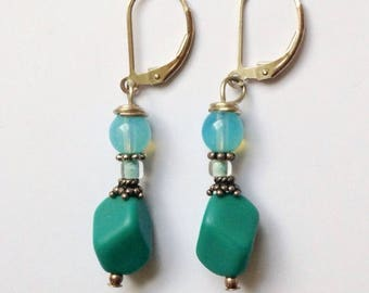 Teal Beaded Earrings On Sterling Silver Leverbacks