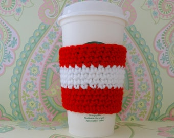 Crochet Reusuable Red and White Cup Cozy/Sleeve, Eco Friendly Cup Cozy/Sleeve - Ready to Ship