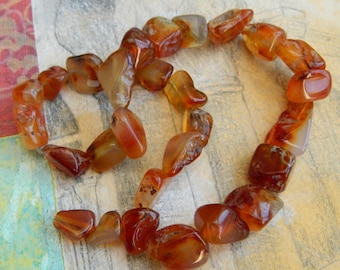 15 inch Strand of Carnelian  Nugget Beads