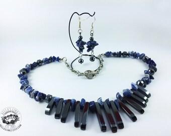 Blue Sodalite Hematite Fan Necklace and Earring Set