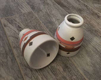 Vintage Ceramic Southwest Sand-Painted Pendant, Chandelier or Sconce Lamp Shade Globes (set of 2)