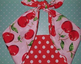 pink cherry polka dot rockabilly  bandana,  rockabilly pin up psychobilly  hairband headband