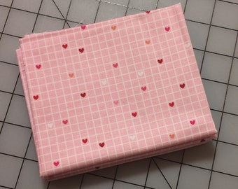Riley Blake - Lovebugs Collection FAT QUARTER cut of Grid in Pink C5053