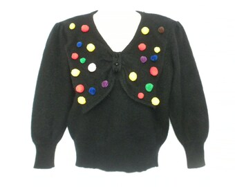Vintage 80s Upcycled Pom Pom Sweater Black Lambswool Angora Jumper by Mister Leonard Small