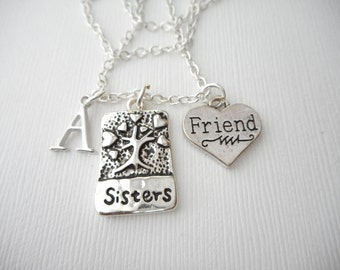 Sisters, Friend- Initial Necklace/ Sisters Jewelry, Sibling Jewelry, inspiration, sisterly love, love for sister, Gift for Sister