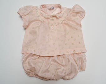vintage dress / top and matching bloomers / diaper cover: floral pink, lace, ruffle bottom 6 months