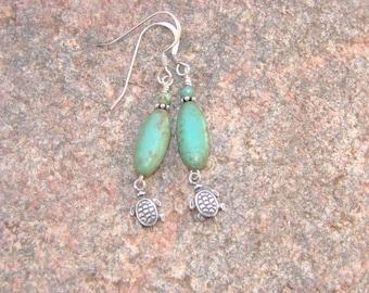 Green Turquoise Earrings, Turtle Earrings, Southwest Style Earrings, Green Turquoise Dangle Earrings, Green Magnesite Earrings
