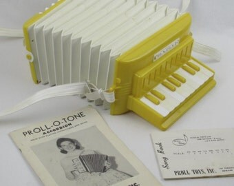 Toy Accordion with Instruction and Song Booklets - Vintage 1950s Childrens Musical Instrument - Beginner Squeeze Box - Concertina Type Piano