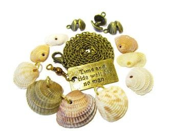 Time and Tide Too, 9 Seashells, Bronze Chain, Bronze Word Tag, Shell Charms, Jewelry Kit, Craft Supply, DIY, Discount Destash, Natural Holes