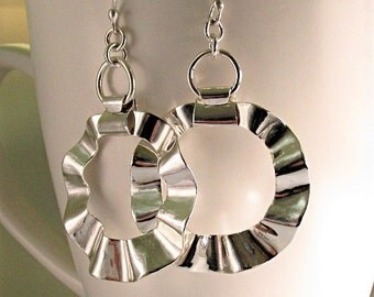 Hoop Earrings Large, Silver Ruffled Hoops, Statement Hoop Earrings